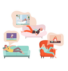 People watch podcasts tired man woman relaxed vector