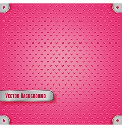 Pink metal texture with heart vector image vector image