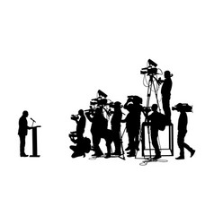 Politician speaking against reporters silhouette vector