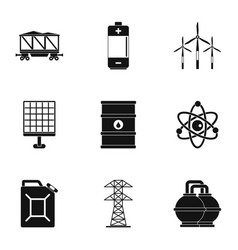 Power industry icon set simple style vector