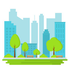 Public park in city landscape background vector