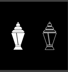 ramadan kareem lantern or fanous icon set white vector image