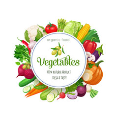 round banner with vegetables vector image