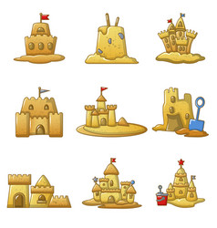 Sandcastle beach icons set cartoon style vector