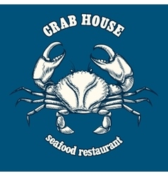 Seafood restaurant logo template with crab vector
