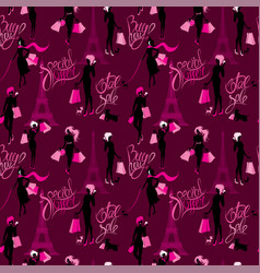 seamless pattern - effel tower girls silhouettes vector image