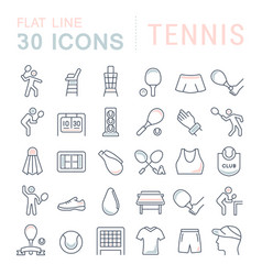 set line icons tennis vector image