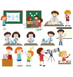 set of children learning vector image