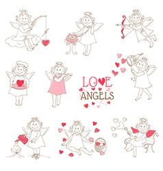 Set of cute Angels and Cupids - Love Wedding Valen vector