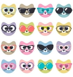 set of cute cats with sunglasses vector image