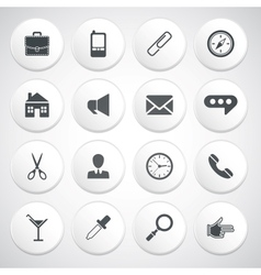 Set of white round buttons with pictograms vector