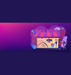 Sex shop concept banner header vector