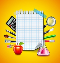 Sheet of notebook and school tools on yellow vector image