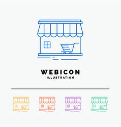 shop store market building shopping 5 color line vector image