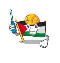 Smart automotive flag palestine scroll presented vector