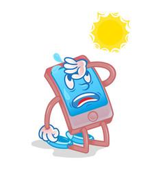 Smartphone under hot sun vector