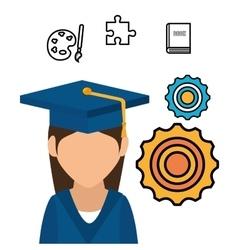 student graduation school set elements design vector image