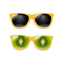 summer sunglasses set isolated white background vector image