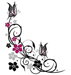 Tendril butterflies floral elements vector