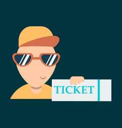 Tickets flat isometric concept young man take big vector