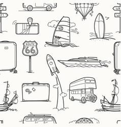 travel seamless background vintage style vector image