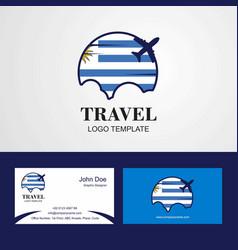 Travel uruguay flag logo and visiting card design vector