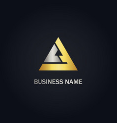 triangle delta shape gold logo vector image