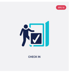 Two color check in icon from accommodation vector