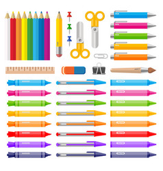 Variety of color pens pencils markers and crayons vector