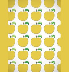 Vertical card with cartoon yellow apples vector