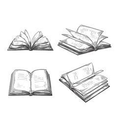 vintage hand drawn sketch set books retro black vector image