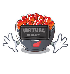Virtual reality salmon roe character ready to eat vector