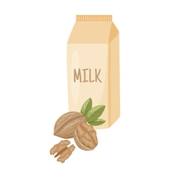 Walnut milk vector