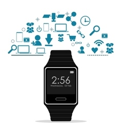 Watch and icon set Wearable technology design vector image