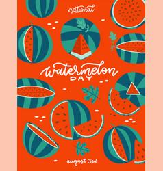 Watermelon day - vertical summer banner red vector