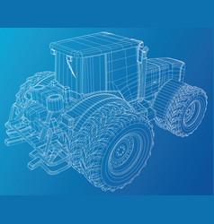 wheeled tractor tracing of 3d vector image