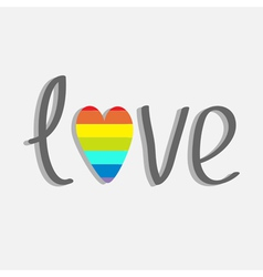 Word love with rainbow heart Flat design vector
