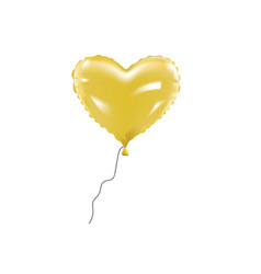 yellow heart foil balloon vector image