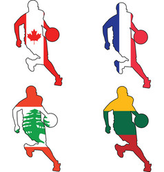 basketball colors of Canada France Lebanon Lithuan vector image vector image
