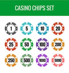 Casino chips set Color poker chips with numbers vector image