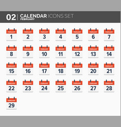 february calendar icons set date and time 2018 vector image vector image