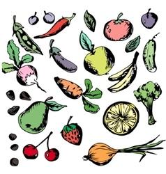 Healthy eating vegetables fruits Banana vector image vector image
