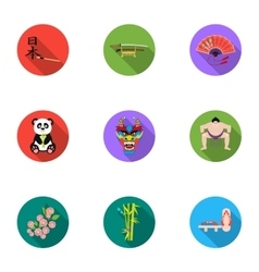 Japan set icons in flat style Big collection of vector image vector image