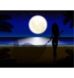 Moon girl with glass beach vacation Night vector image