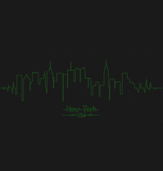 new york city linear banner like heart cardiogram vector image