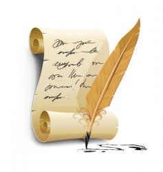 script with ink feather pen vector image