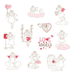 Set of cute Angels and Cupids - Love Wedding Valen vector image vector image