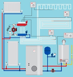 Smart energy-saving heating system with vector image