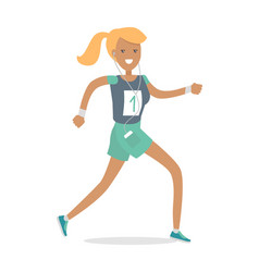 Sportive athletic girl runner isolated on white vector