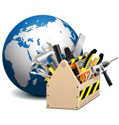 Toolbox with Globe vector image